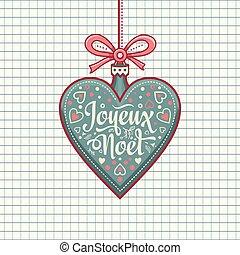 saludo, francés, navidad, joyeux, alegre, noel., tarjeta
