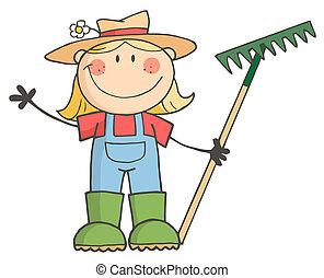 saludo, niña, jardinería, ondulación
