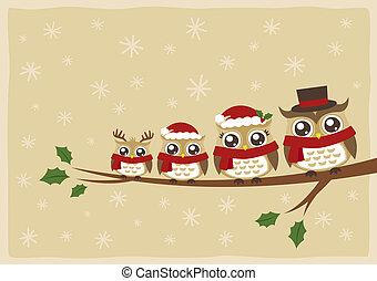 Saludos de Navidad de la familia Owl
