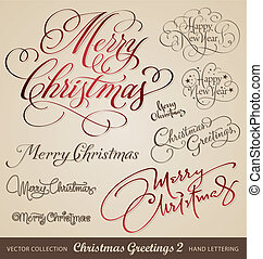 saludos, navidad, mano, letras