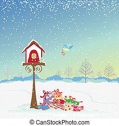 Saludos navideños de aves petirantes
