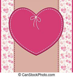 Saludos vectores, boda o tarjeta de cumpleaños con flores y corazón