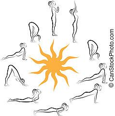 Salutación del sol Yoga, vector