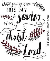 salvador, nosotros, niño, nacido, señor, esto, cristo, día, unto