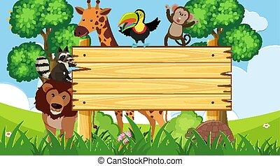 salvaje, de madera, animales, señal, parque