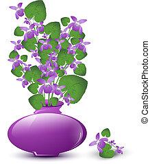 salvaje, ramo, violeta
