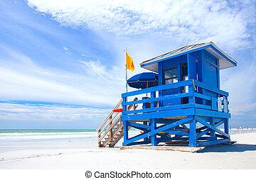 salvavidas, playa, colorido, estados unidos de américa, casa, azul, florida, nublado, océano, hermoso, verano, llave, siesta, día, cielo