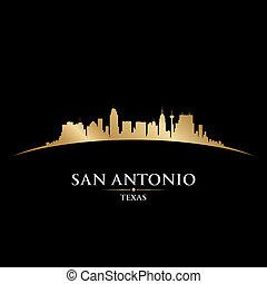 San Antonio Texas City Skyline Silueta de fondo negro