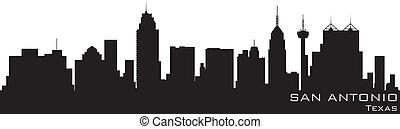 San Antonio, Texas Skyline. Detallado vector silueta