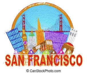 San Francisco abstracto Skyline Golden Gate impresionista