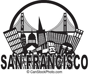 San Francisco Skyline Golden Gate, puente blanco y negro
