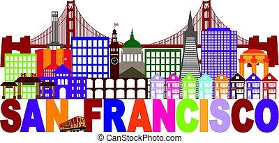 San Francisco Skyline y texto ilustración colorida