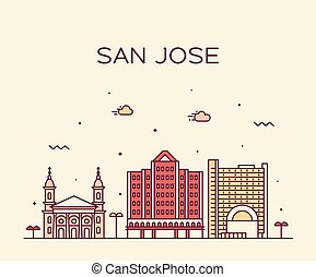 San José Skyline norte de California vector USA