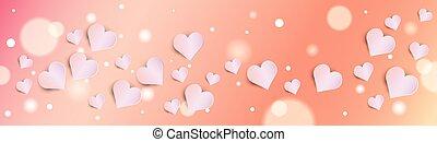 San Valentín bokeh fondo con corazones rosados estandarte horizontal