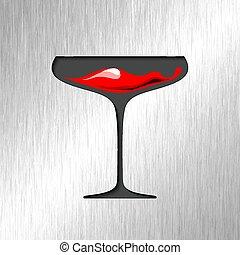 Sangre roja en vidrio con antecedentes de acero inoxidable.
