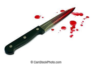 sangriento, cuchillo, cocina