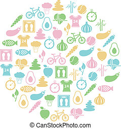 sano, círculo, estilo de vida, icono