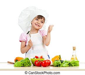 sano, encima, chef, alimento, preparando, plano de fondo, niña, blanco