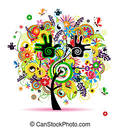 sano, energía, árbol, diseño, herbario, su