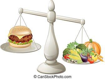 sano, equilibrado, comida, dieta