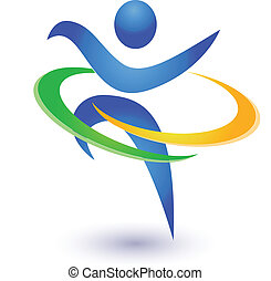 sano, logotipo, vector, feliz