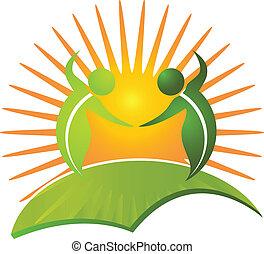 sano, logotipo, vida, vector, naturaleza
