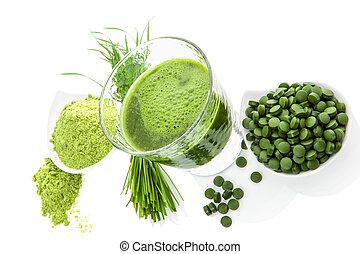 sano, supplements., detox, verde, superfood.