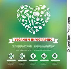 sano, vegetariano, vegetariano, orgánico, infographic