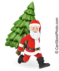 Santa Claus 3D corriendo con un abeto atrás