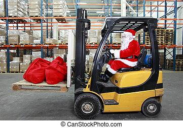 Santa Claus como operador de carretilla elevadora