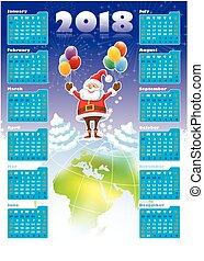 Santa Claus con calendario 2018