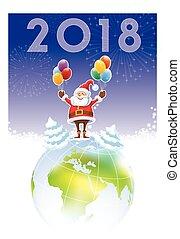 Santa Claus con el año nuevo 2018