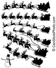 Santa Claus conduciendo en trineo