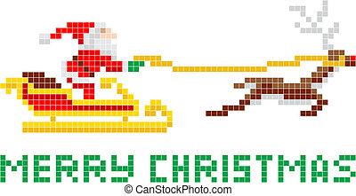 Santa Claus de Navidad de Pixel y trineo