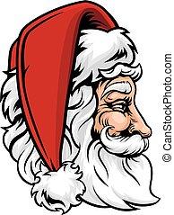 Santa Claus de Navidad en perfil