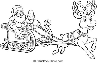 Santa Claus de navidad, trineo de trineos de trineo