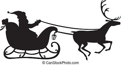 Santa Claus en un trineo de renos