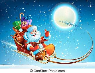 Santa Claus en un trineo