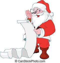 Santa Claus leyendo una lista de regalos
