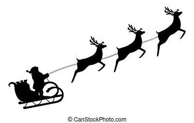 Santa Claus monta en un trineo en arneses en los renos