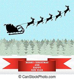 Santa Claus montando en un reno