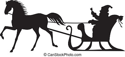 Santa Claus montando en un trineo de caballos
