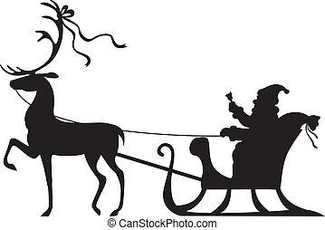 Santa Claus montando en un trineo de ciervos