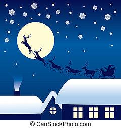 Santa Claus montando en un trineo de renos