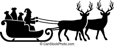 Santa Claus montando en una ilustración de vectores de trineo de renos