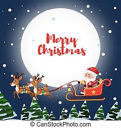 Santa Claus montando trineo en el cielo