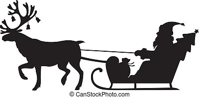 Santa Claus montando un trineo con renos