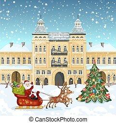 Santa Claus navideño montando en trineo