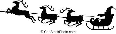 Santa Claus navideño montando en trineo de renos