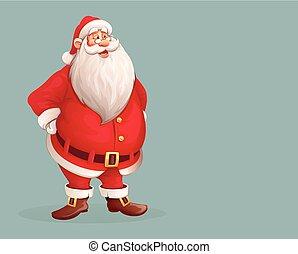 Santa Claus sonriente parado solo